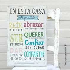Cuadro Vintage con Frase - En esta casa está permitido... - comprar online Open House Parties, Gallery Wall Frames, Calligraphy Words, Diy Frame, Illustrations And Posters, Peace And Love, Ideas Para, Wood Signs, Decoupage