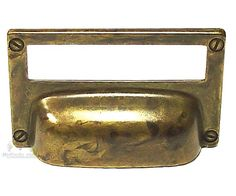 Knobs4less.com Offers: Old World Hardware BMH-36377 Cup Pull, label holder antique brass distressed antique brass distressed