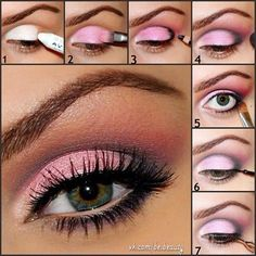 Pinky makeup tutorial. More tutorials here http://ko-te.com/en/beauty/easy-step-by-step-makeup-set-of-5-tutorials