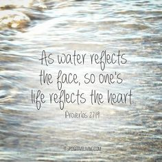 Proverbs 27:19 As water reflects the face, so one's life reflects the heart.