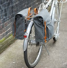 Panniers in grey waxed-canvas – Sketchbook Designs| by Amber M. Jensen
