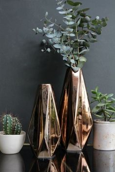 Geometric Copper Vase - Available in Large or Small
