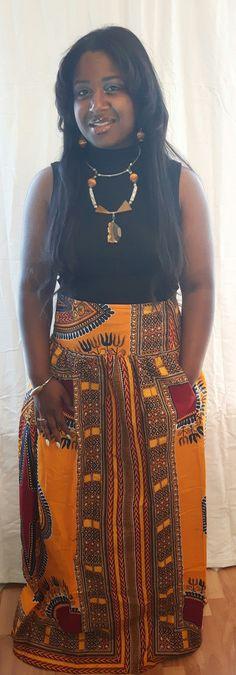 Yellow Angelina African Print Maxi Skirt