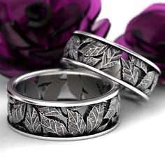 Custom Wedding Rings Leaf Ring Wedding Ring Set Custom Made With Cherry Tree Leaves in Sterling Silver, Made in Your Size 5103 - Premier Designs Jewelry, Custom Jewelry Design, Sapphire Band, Diamond Bands, Horseshoe Ring, Custom Wedding Rings, Wedding Bands, Leaf Ring, Couple Rings