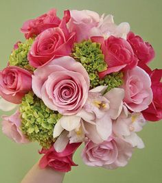 Bouquet of mini green hydrangeas, cymbidium orchids, Titanic roses, and Orlando roses