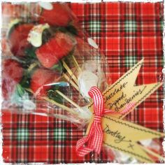 strawberry bundle in cellophane.