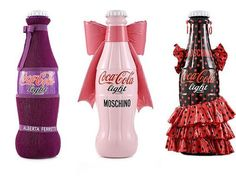 Designs from the Tribute to Fashion project with Coca Cola Light and Italy's leading fashion designers, from Moschino to Versace. Donatella Versace, Missoni, Karl Lagerfeld, Moschino, Coca Cola Light, Coca Cola Bottles, Coke Cans, Always Coca Cola, Bright Dress