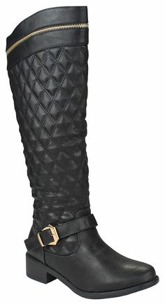 Women Greta15 Black FauxLeather Gold Decor Zip Buckle Strap Quilted Slanted Riding Knee High Boots-10 *** Continue to the product at the image link.