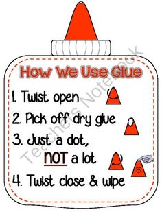 How We Use Glue Poster from Teach at the Beach on TeachersNotebook.com - (2 pages) - Simple mini poster reminding students how to properly use and take care of our white glue and bottles.