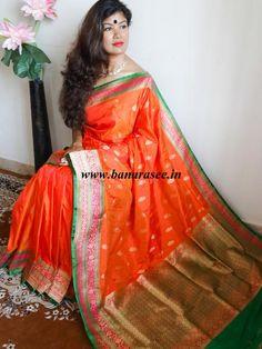 Banarasee/Banarasee Pure Handloom Katan Silk Sari With Zari Weaving Border-Orange