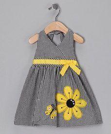 Black Sunflower Seersucker Dress - Infant & Toddler by Rare Editions You ma. Boys Clothes Sale, Girl Doll Clothes, Little Dresses, Little Girl Dresses, Baby Dress Patterns, Seersucker Dress, Kids Frocks, Kids Fashion Boy, Toddler Dress