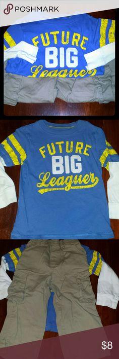 BOYS bundle!! 3T Carter's L/S shirt 3T  Garanimals Kahki cargo pants 3T Carter's Shirts & Tops Tees - Long Sleeve