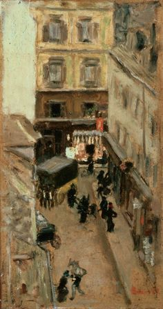 Pierre Bonnard, (1867-1947), ca. 1897, Narrow Street in Paris, Oil on cardboard. on ArtStack #pierre-bonnard #art