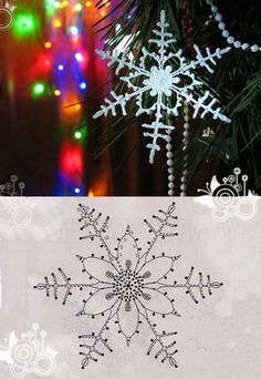 Decoration to hang with 8 handmade crochet snowflakes - Her Crochet Diy Christmas Snowflakes, Snowflake Garland, Snowflake Craft, Snowflake Decorations, Crochet Christmas Ornaments, Christmas Crafts, Christmas Decorations, Crochet Snowflake Pattern, Crochet Snowflakes