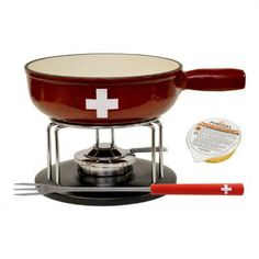 Set Fondue Swiss - Heidi Cheese Line : Set fondue with a red Edel / Swiss fondue pot, including a design stainless steel tripod for easy handling of the burner and six fondue forks with a red protective handle with a white cross.