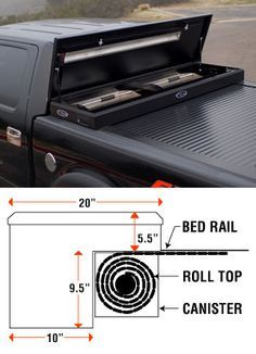 American Work Cover Retractable Tonneau Toolbox Combo by Truck Covers USA Work Cover Full Size Retractable Bed Covers by Truck Covers USA Ram Trucks, Cool Trucks, Chevy Trucks, Pickup Trucks, Lifted Chevy, Chevy Duramax, Truck Accesories, Truck Tools, Garage Organization
