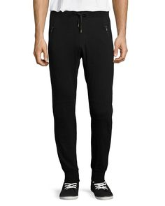 Moto Knit Jogger Pants, Black, Men's, Size: S - John Varvatos Star USA