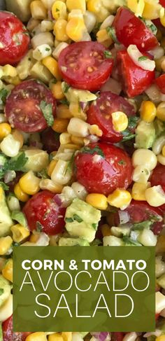 Avocado Corn Tomato Salad is so easy, light, and refreshing! Chunks of avocado, cherry tomatoes and frozen corn are covered in a lime & olive oil dressing. Veggie Side Dishes, Side Dish Recipes, Simple Side Dishes For Bbq, Easy Dishes For Potluck, Sides For Bbq, Summer Side Dishes, Dinner Dishes, Food Dishes, Corn Tomato Salad