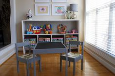 We have this exact table and chairs from Ikea--I need to paint it and do chalkboard paint on the top. Sunroom Playroom, Playroom Design, Playroom Ideas, Furniture Inspiration, Room Inspiration, Ikea Kids Table, Big Girl Rooms, Kids Rooms, Play Rooms
