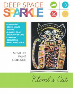 Children study artist Gustav Klimt and apply his golden shapes and patterns to a cute cat. Drawing and Painting video tutorial