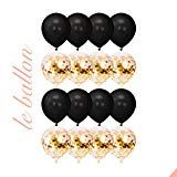 LE BALLON Premium Elegant Instagram/Pinterest Famous Giant 18 Rose Gold Foil Confetti Balloons 16 Pieces For Bridal Shower Wedding Baby Shower Sweet Sixteen Birthday Valentines Day (Black/Gold)