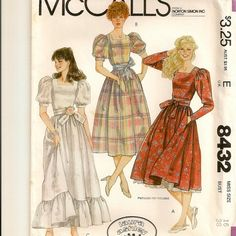 Misses Laura Ashley Dress and Tie Belt Sewing by Shelleyville Mccalls Sewing Patterns, Vintage Sewing Patterns, Clothing Patterns, Dress Patterns, Vintage Dresses, Vintage Outfits, Vintage Fashion, 80s Fashion, Vintage Clothing