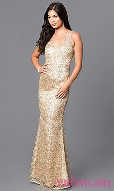 V-Neck Long Prom Dress in Metallic and Sequins at PromGirl.com