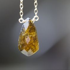 Toumaline Pendant Necklace on Gold Chain by AUREATA on Etsy, $70.00