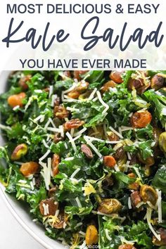 This is the kale salad of all kale salads and it is so easy! The homemade lemon dressing makes this recipe and is a must try. It is vegetarian, gluten free, low-carb, healthy, and weight watchers friendly. Healthy Salads, Healthy Foods To Eat, Healthy Eating, Kale Salads, Potato Salad Mustard, Salad With Sweet Potato, Vegetarian Recipes, Healthy Recipes, Keto Recipes