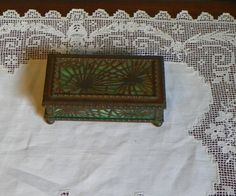 Antique Tiffany Signed Stamp BOX Pine Needle Slag Green Glass Desk Favrile 801 by FavrileFinds on Etsy https://www.etsy.com/listing/180588928/antique-tiffany-signed-stamp-box-pine