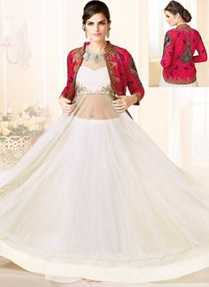 Inviting Off White Net Anarkali Suit