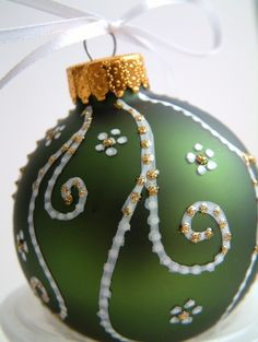 White Swirls on Christmas Green Holiday Ornament