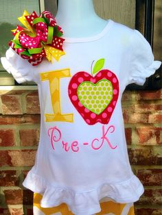 Back To School Appliqué I Love PreK I Love by TwoSewinCute on Etsy