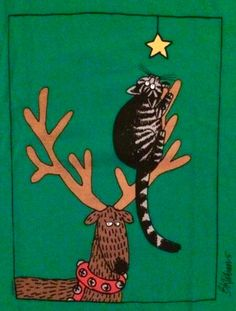 Christmas Cat by B. Kliban