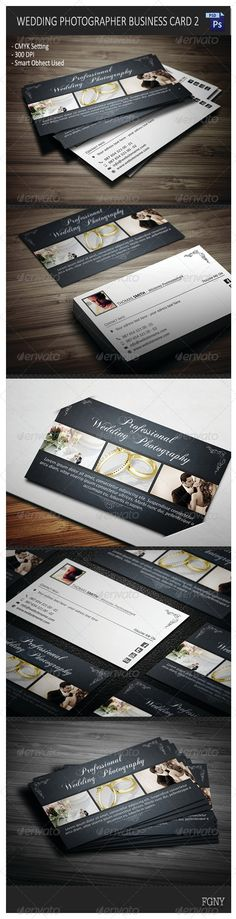 Buy Wedding Photographer Business Card 2 by YFguney on GraphicRiver. Layered PSD files CMYK Setting 300 DPI High Resolution x x with bleeds) Sample photos used on t. Photographer Business Cards, Photography Business, Wedding Guest List, Wedding Day, Wedding Reception Chairs, Wedding Planning Binder, Winter Wedding Favors, Photoshop Photography, Floral Wedding Invitations