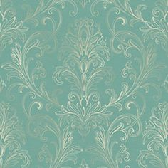 Linear Damask Wallpaper Turquoise/Pearl Double Rol