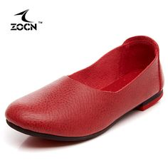 ZOCN Women Loafers High Quality Fashion Nurse Shoes Slip On Shoes For Women Ballet Flats Shoes Zapatos Mujer 3 Colors 35-40