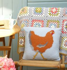 Happy in the garden... Chicken Cushion crochet pattern by Little Doolally