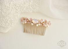 Blush Bridal Hair Comb Wedding Hair Comb Blush Pink by TanneDesign