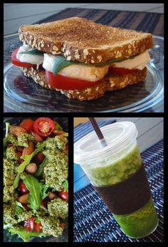 Classic Caprese sandwich, pesto arugula salad, and green energy smoothie. The perfect #healthy lunch for when you're on the run!
