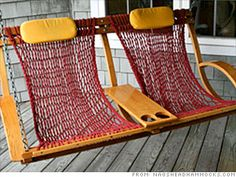 coolest porch swing.... hammock feel to it