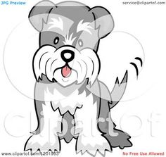 Cartoon of a Cute Schnauzer Dog Wagging His Tail - Royalty Free Vector ...