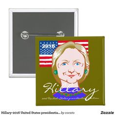 Hillary-2016 United States presidential election 5.1cm 正方形バッジ