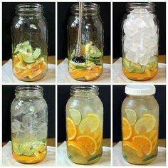 Detox: Ecco gli ingredienti per 2 litri di acqua detossificante:  - 1 limone - 2-3 aranci - 1 cetriolo - 1 lime - menta - cubetti di ghiaccio