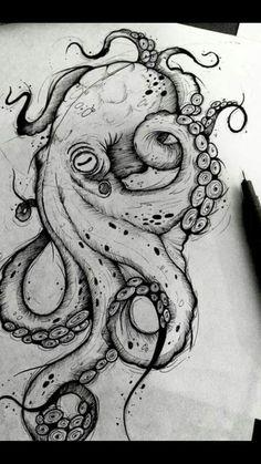 Octopus Design Octopus Tattoo Octopus black and white design sea background . - Octopus Design Octopus Tattoo Octopus Black and White Design Sea Background … – Octopus Design - Octopus Drawing, Octopus Tattoo Design, Octopus Tattoos, Octopus Art, Tattoo Designs, Octopus Sketch, Octopus Painting, Tattoo Ideas, Cute Octopus Tattoo