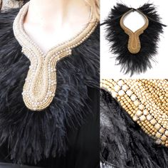 Opaque strass necklaces with black feathers