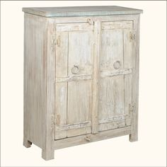 1. Appalachian Rustic Antique White Reclaimed Wood Storage Cabinet