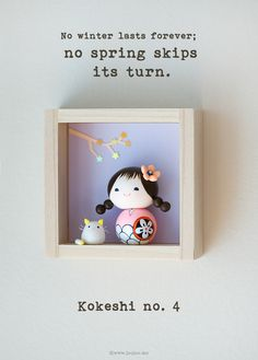 Kokeshi doll, handmade Polymer Clay Art by Joojoo - Shadow box by Heezome on Etsy