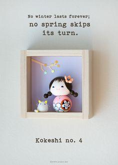 Kokeshi doll, handmade Polymer Clay Art by Joojoo - Shadow box by Heezome on Etsy