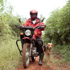 Johnson bought a boda-boda (motorbike!) with his farming profits to transport more crops to local #markets. #investing  Photo by Esther Havens